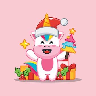 Unicórnio fofo no dia de natal segurando uma árvore e uma estrela. ilustração fofa dos desenhos animados de natal
