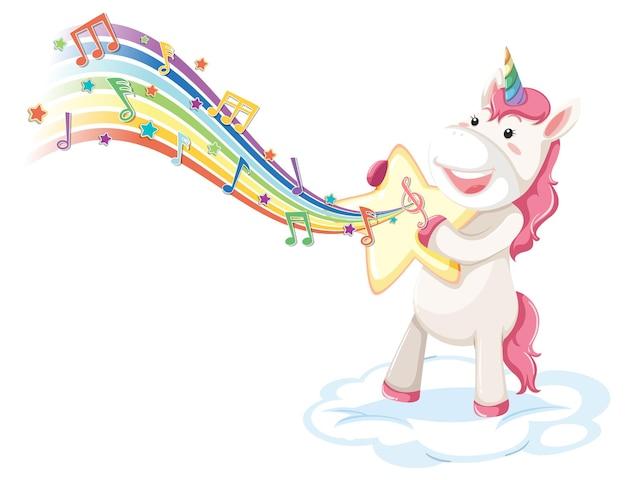 Unicórnio fofo parado na nuvem com símbolos de melodia no arco-íris