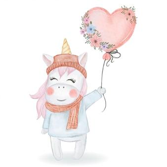 Unicórnio fofo segurando um balão de coração com flores em aquarela de ilustração