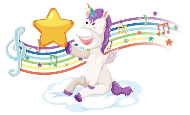 Unicórnio fofo segurando uma estrela com símbolos de melodia no arco-íris