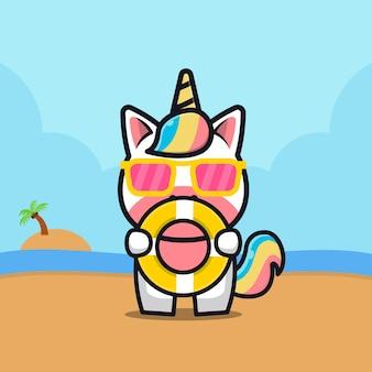 Unicórnio fofo segurar anel de natação ilustração dos desenhos animados conceito de verão animal