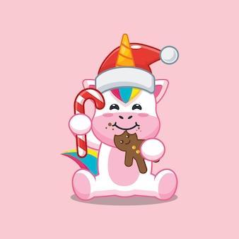 Unicórnio fofo usando chapéu de papai noel e comendo biscoitos de natal. ilustração fofa dos desenhos animados de natal