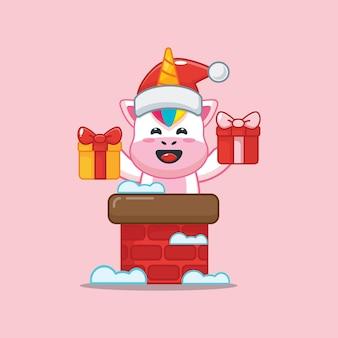 Unicórnio fofo usando chapéu de papai noel saindo da chaminé ilustração fofa dos desenhos animados de natal