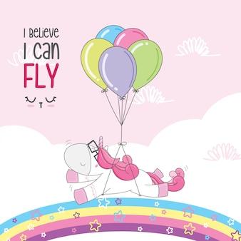 Unicórnio fofo voa com um balão