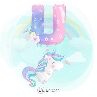 Unicórnio fofo voando com balão alfabeto-u