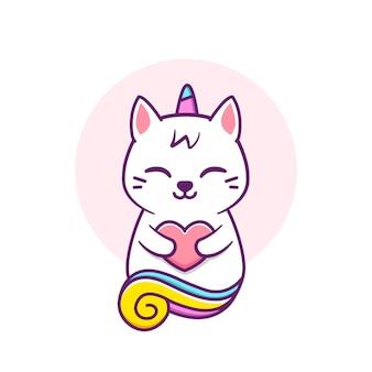 Unicórnio gato fofo abraçando um coração