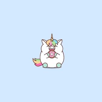 Unicórnio gordo bonito comendo desenhos animados de donut, ilustração vetorial