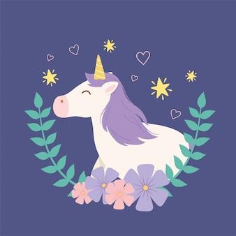 Unicórnio grinalda flores estrelas fantasia mágica dos desenhos animados animal bonito