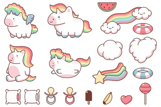 Unicórnio kawaii bonito e desenhos animados de elementos de design engraçado conjunto isolado em um fundo branco.