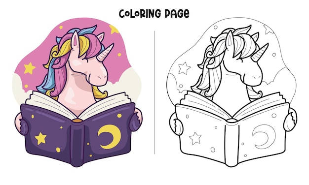 Unicórnio lê um livro