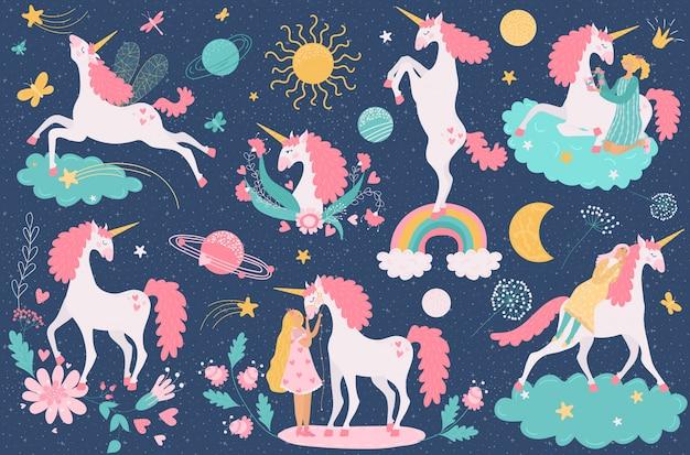 Unicórnio mágico cavalo fantasia animal e menina, ilustração