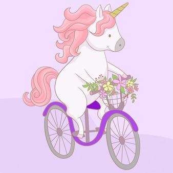 Unicórnio, montando uma bicicleta