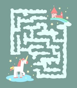 Unicórnio na ilustração do labirinto
