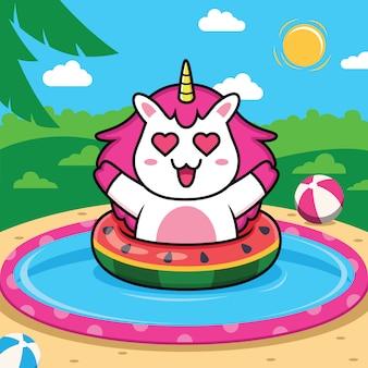 Unicórnio nadando na praia dos desenhos animados