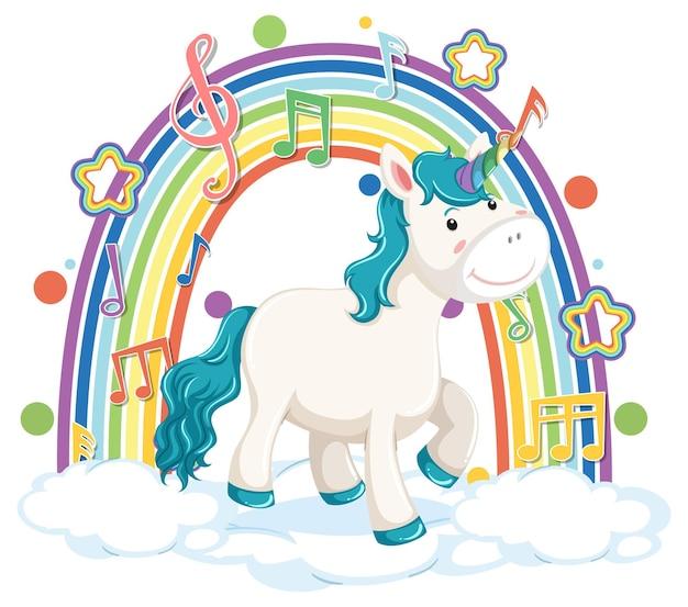 Unicórnio parado na nuvem com arco-íris e símbolo de melodia