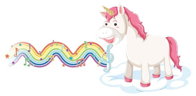 Unicórnio parado na nuvem com símbolos melódicos na onda do arco-íris