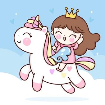 Unicórnio pégaso e pequena princesa cavalgando pônei