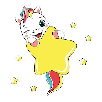 Unicórnio safado fofo com estrela