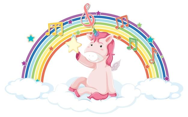 Unicórnio sentado na nuvem com arco-íris e símbolo de melodia