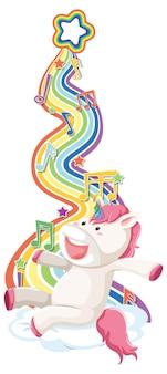 Unicórnio sentado na nuvem com arco-íris no fundo branco