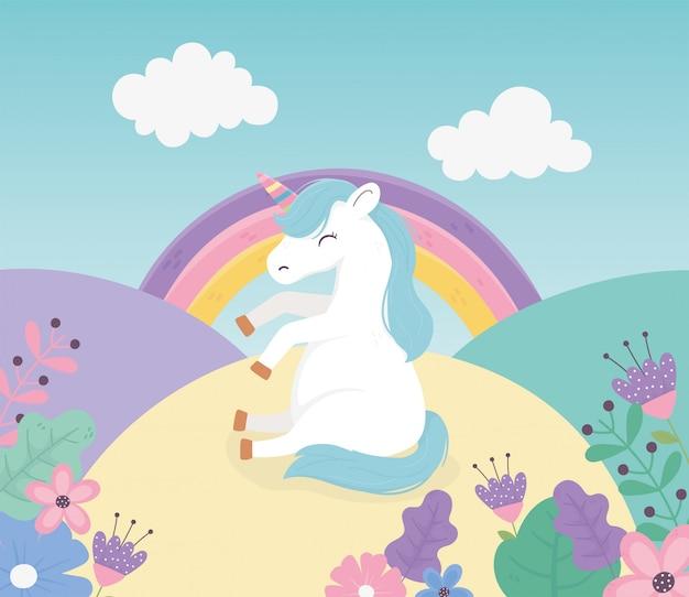 Unicórnio sentado nas flores arco-íris fantasia mágica bonito dos desenhos animados