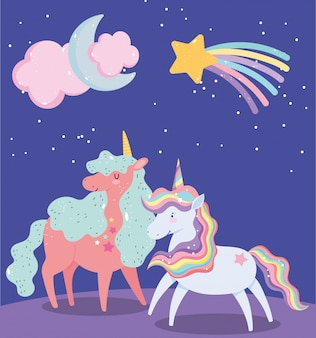 Unicórnios animais magia estrela cadente lua nuvem cartoon