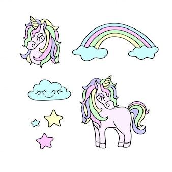 Unicórnios, arco-íris, nuvens, estrelas conjunto mágico
