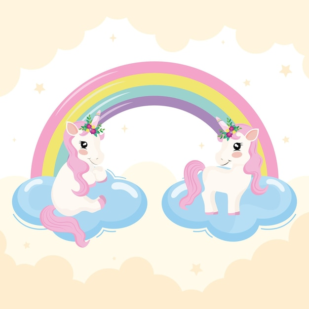 Unicórnios bebês e cena do arco-íris Vetor Premium