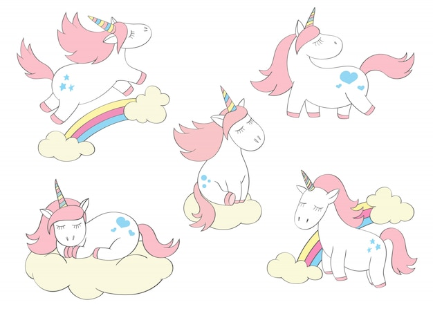 Unicórnios bonitos mágicos ajustados no estilo dos desenhos animados. doodle unicórnios