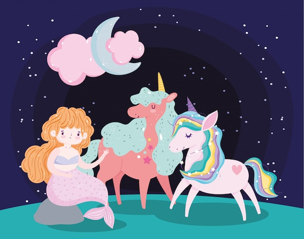 Unicórnios brincando com desenhos de sonho mágico de personagens sereias