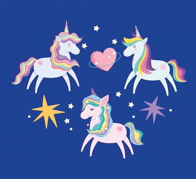 Unicórnios com cabelo arco-íris, coração e corações