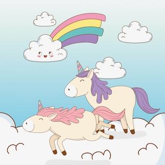 Unicórnios de conto de fadas bonitos nas nuvens com arco-íris