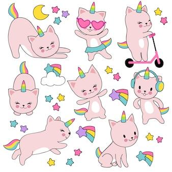 Unicórnios de gato branco bonito dos desenhos animados