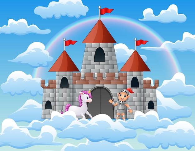 Unicórnios e cavaleiros no palácio nas nuvens