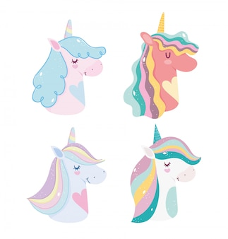 Unicórnios fofos fantasia mágica desenho animado arco-íris chifres ícones de retrato de juba