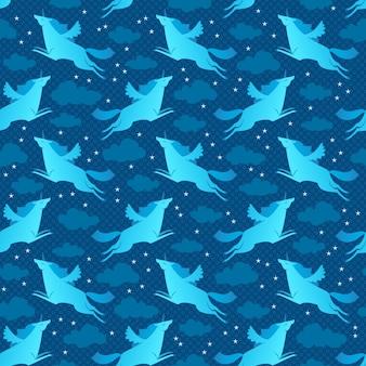 Unicorns blue seamless pattern