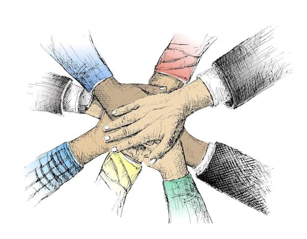 Unidade de mãos esboçar ilustração vetorial