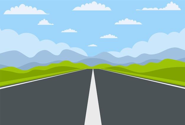 Unidade de rodovia com bela paisagem.