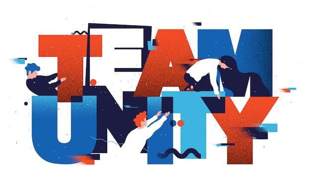 Unidade de trabalho em equipe. ilustração em vetor plana construção de equipes.
