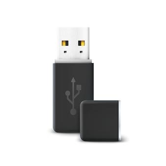 Unidade flash preta isolada no branco. usb e hardware, transferência de informação e memória, armazenamento de tecnologia, portátil eletrônico e conexão.