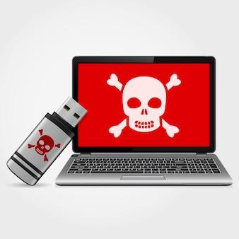 Unidade flash usb com malware infectado por laptop