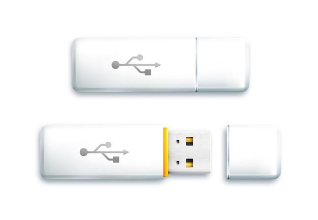 Unidade flash usb em fundo branco. unidade flash branca aberta e fechada.