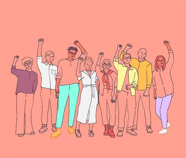 Unidade na diversidade multicultural, equipe e amizade. grupo de pessoas felizes juntas, acenando.