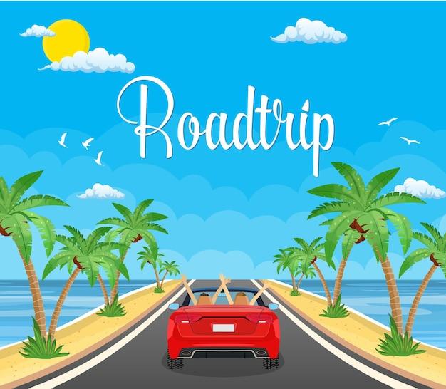 Unidade rodoviária com bela paisagem em uma praia com palmeiras.