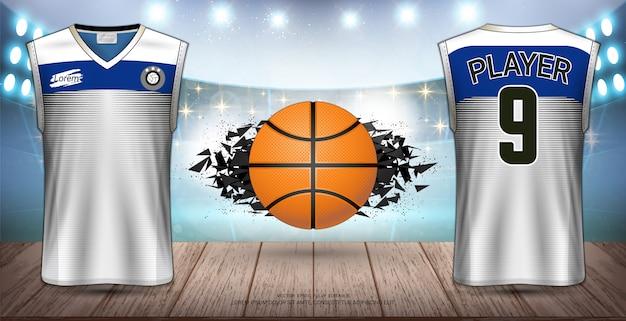 Uniforme de basquetebol e design de jersey.