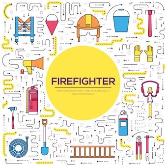Uniforme de bombeiro plano e conjunto de equipamentos e instrumentos de primeira ajuda.