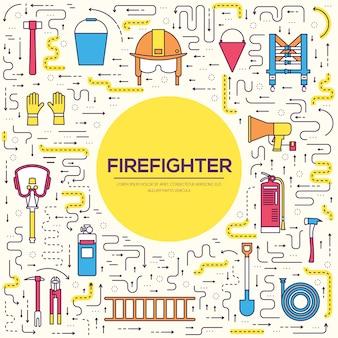 Uniforme de bombeiro plano e conjunto de equipamentos e instrumentos de primeira ajuda