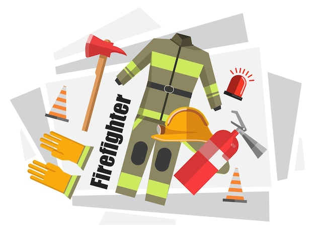 Uniforme de bombeiro, roupa de proteção com capacete, luvas de borracha. equipamentos e ferramentas para trabalho seguro, extintor, cone plástico, alarme de sirene e machado com cabo de madeira. vetor em estilo simples