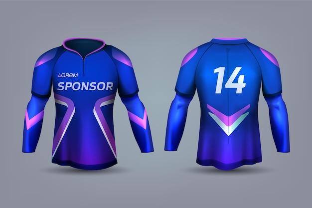 Uniforme de camisa de futebol azul e violeta