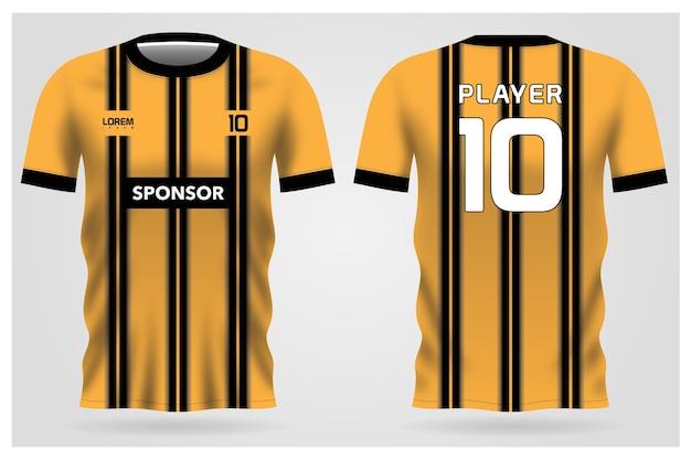 Uniforme de camisa de futebol com listras pretas amarelas para clube de futebol, vista frontal e traseira da camiseta